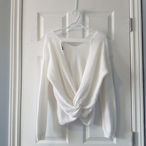 White knit oversized v neck sweater open back S